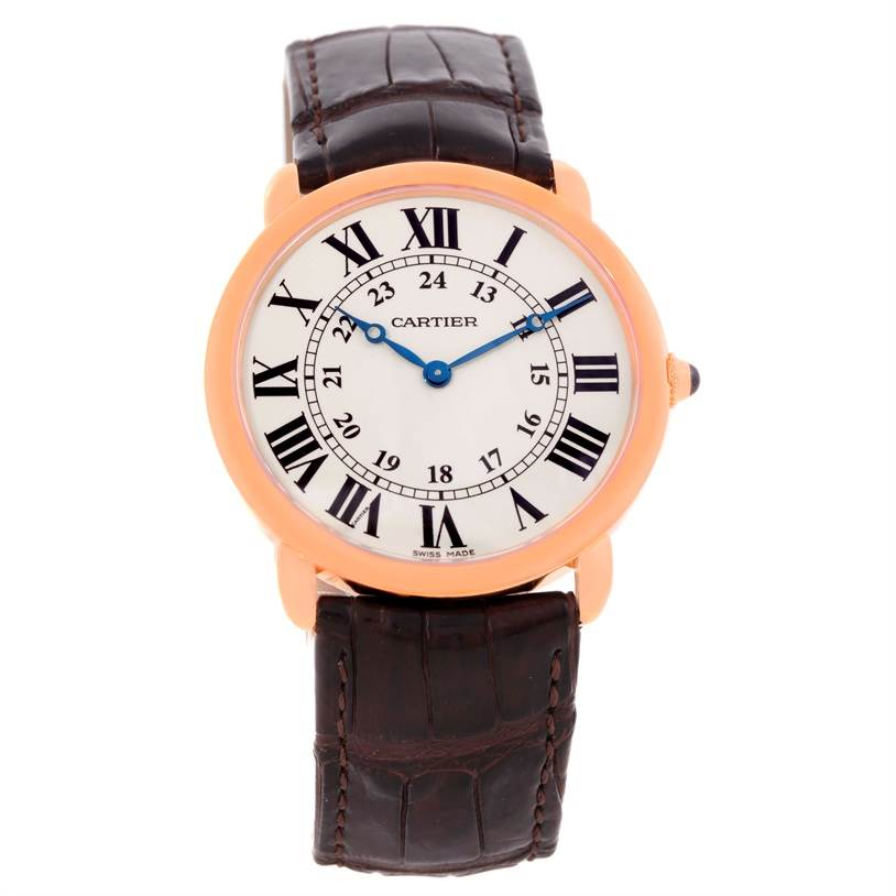 10024 Cartier Ronde Louis 18K Rose Gold Mens Watch W6800251 SwissWatchExpo