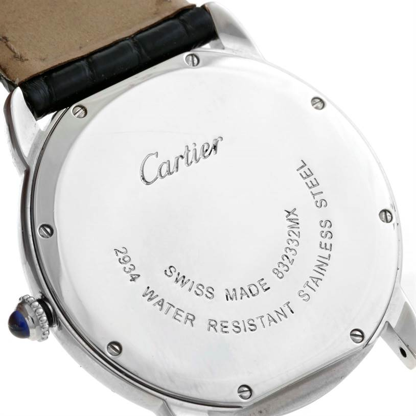 10033 Cartier Ronde Solo Large Steel Black Leather Quartz Watch W6700255 SwissWatchExpo
