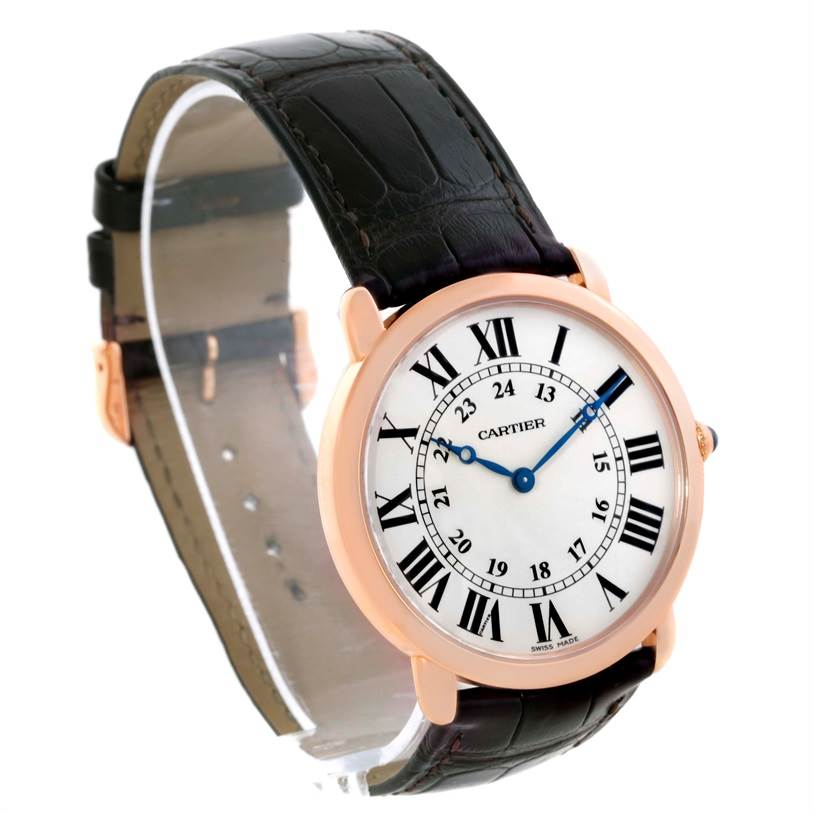 9934 Cartier Ronde Louis 18K Rose Gold Black Strap Mens Watch W6800251 SwissWatchExpo