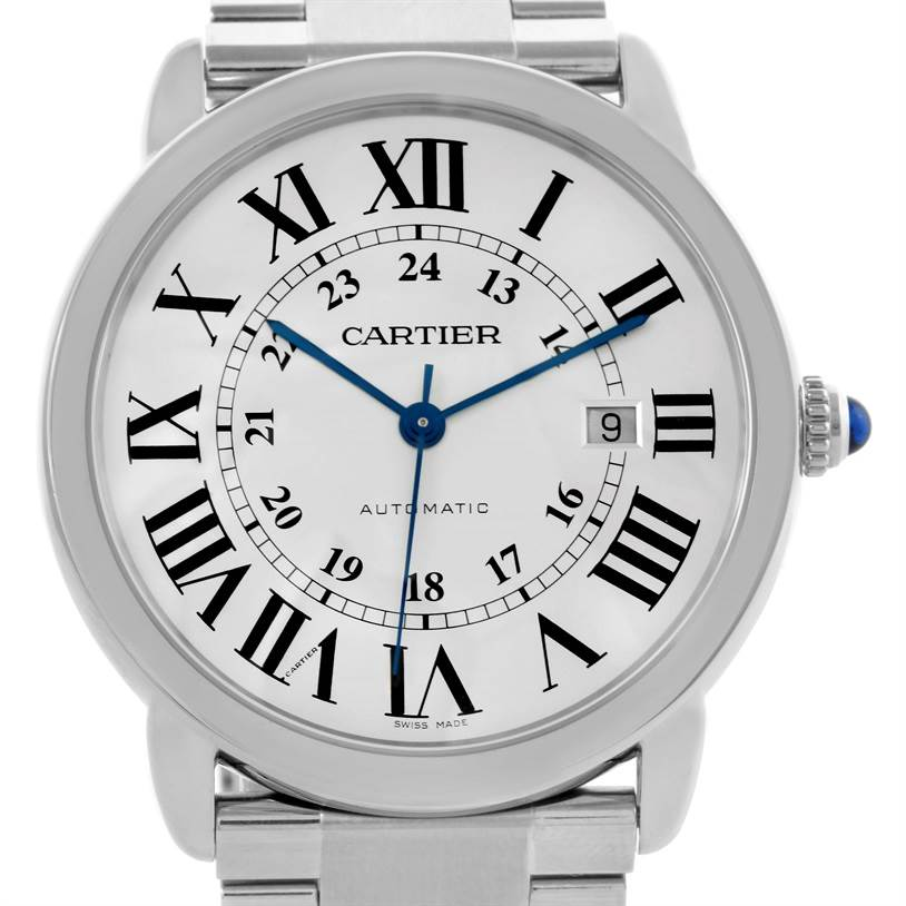 10471 Cartier Ronde Solo Automatic Stainless Steel Mens Watch W6701011 SwissWatchExpo
