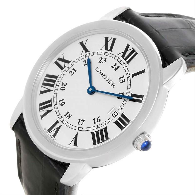 Cartier Ronde Solo Large Steel Black Leather Quartz Watch W6700255 SwissWatchExpo