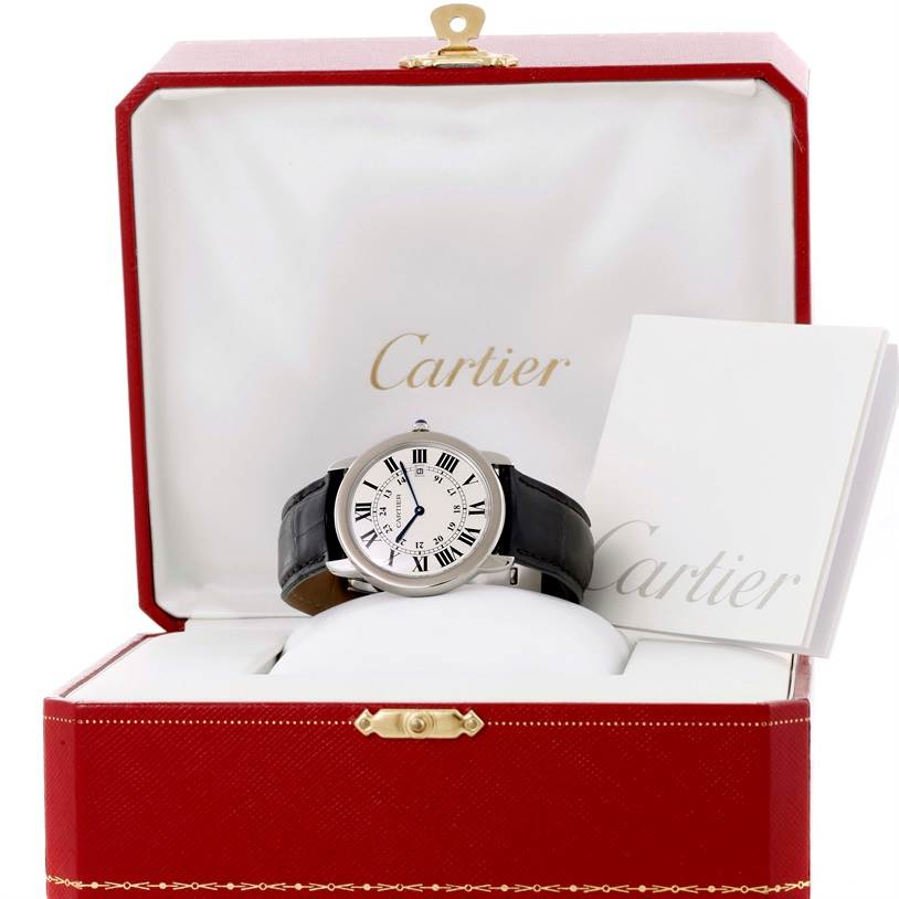 10364 Cartier Ronde Solo Large Steel Black Leather Quartz Watch W6700255 SwissWatchExpo