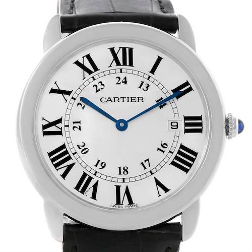 Photo of Cartier Ronde Solo Large Steel Black Leather Quartz Watch W6700255