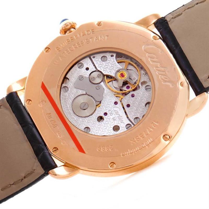 Cartier Ronde Louis 18K Rose Gold Black Strap Mens Watch W6800251 SwissWatchExpo