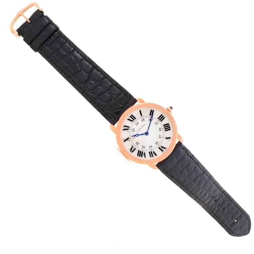 11746 Cartier Ronde Louis 18K Rose Gold Black Strap Mens Watch W6800251 SwissWatchExpo