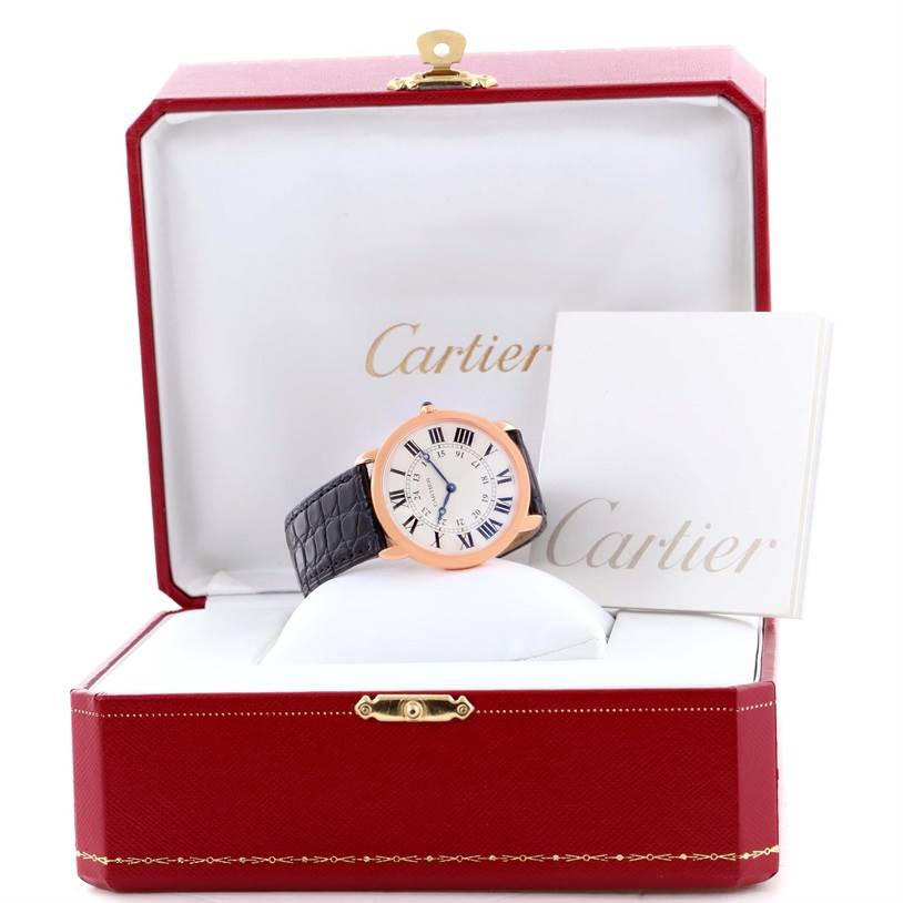 11746 Cartier Ronde Louis 18K Rose Gold Black Strap Mens Watch W6800251 SwissWatchExpo