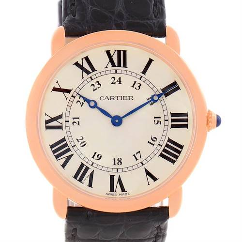 Photo of Cartier Ronde Louis 18K Rose Gold Black Strap Mens Watch W6800251
