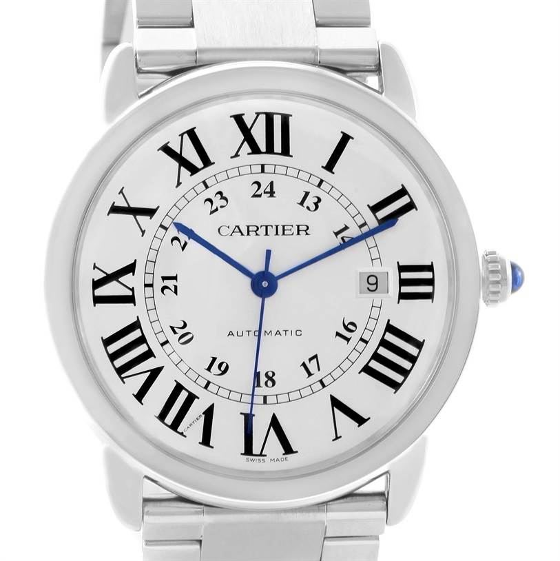 11951 Cartier Ronde Solo Automatic Steel Date Mens Watch W6701011 SwissWatchExpo