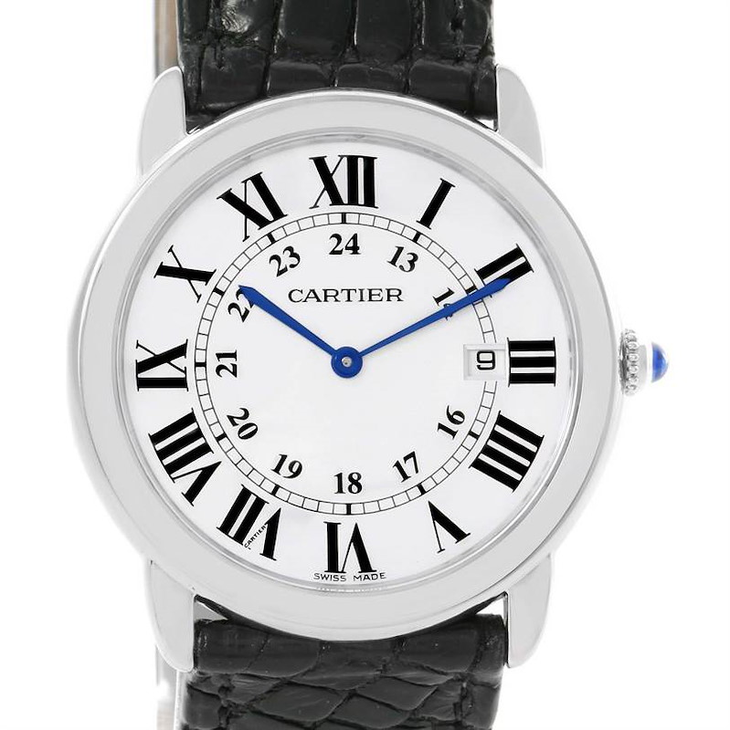 Cartier Ronde Solo Large Stainless Steel Black Leather Watch W6700255 SwissWatchExpo