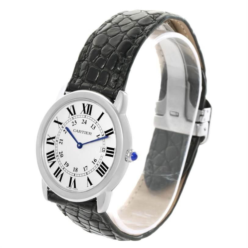 12168 Cartier Ronde Solo Large Stainless Steel Black Leather Watch W6700255 SwissWatchExpo