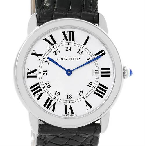 Photo of Cartier Ronde Solo Large Stainless Steel Black Leather Watch W6700255