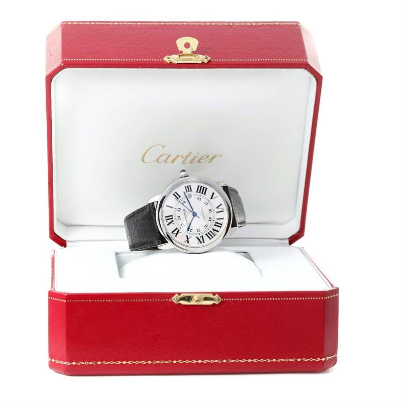 12075 Cartier Ronde Solo Silver Dial Automatic Steel Date Watch W6701010 SwissWatchExpo