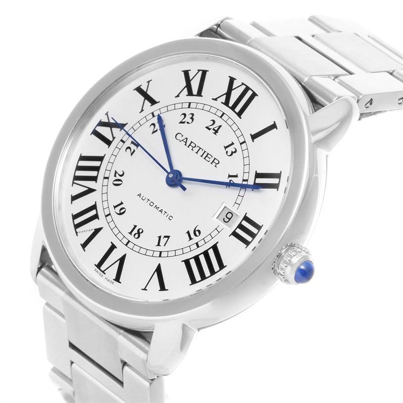 12032 Cartier Ronde Solo Automatic Steel Date Mens Watch W6701011 SwissWatchExpo