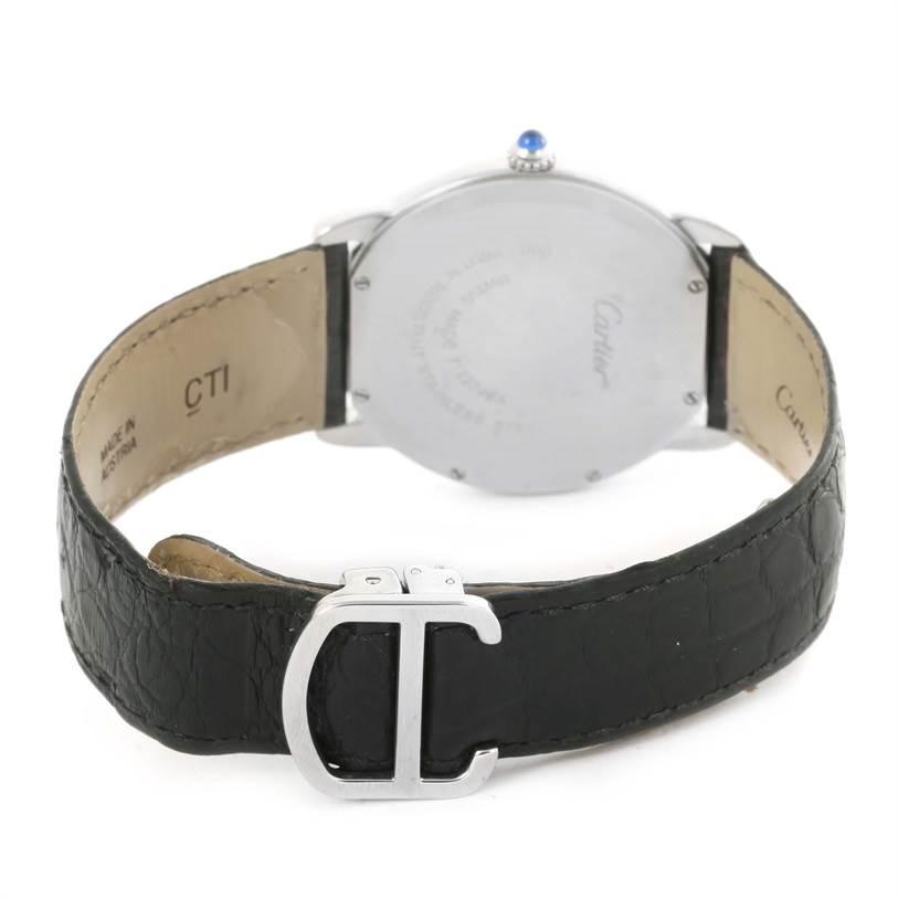 12254 Cartier Ronde Solo Large Steel Black Leather Quartz Watch W6700255 SwissWatchExpo