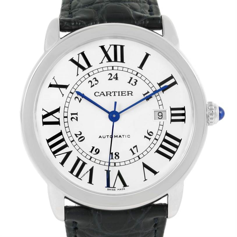 12853 Cartier Ronde Solo Silver Dial Stainless Steel Date Watch W6701010 SwissWatchExpo
