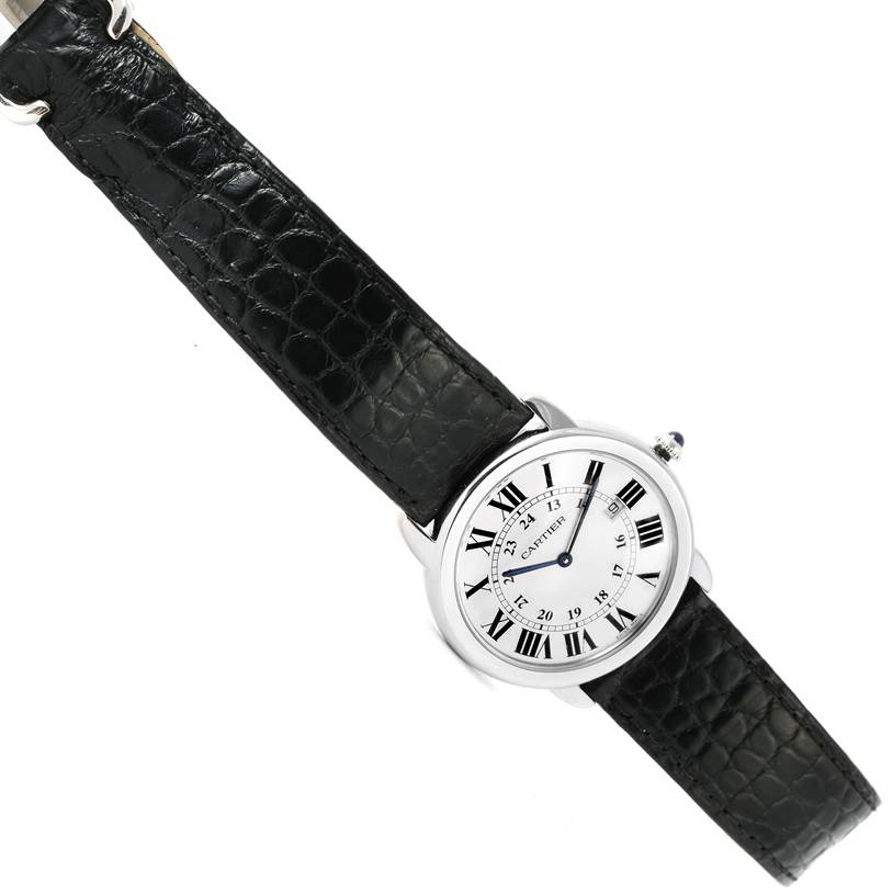 12961 Cartier Ronde Solo Large Steel Silver Roman Dial Watch W6700255 SwissWatchExpo