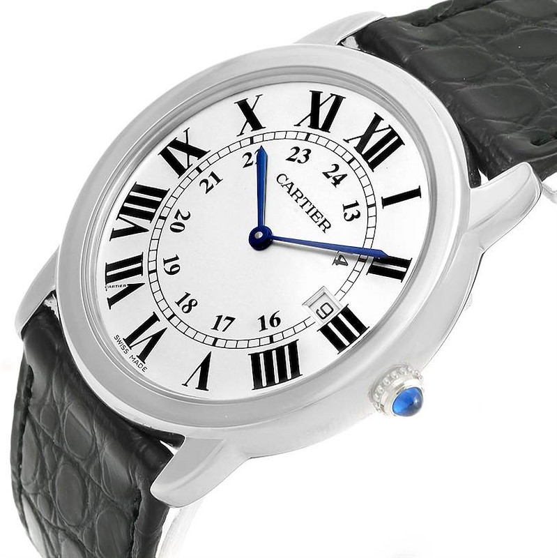 Cartier Ronde Solo Large Steel Black Strap Date Watch W6700255 SwissWatchExpo