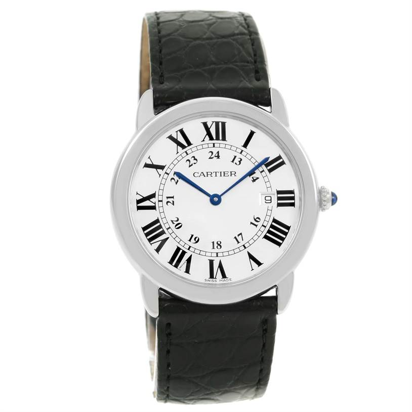 13149 Cartier Ronde Solo Large Steel Black Strap Date Watch W6700255 SwissWatchExpo