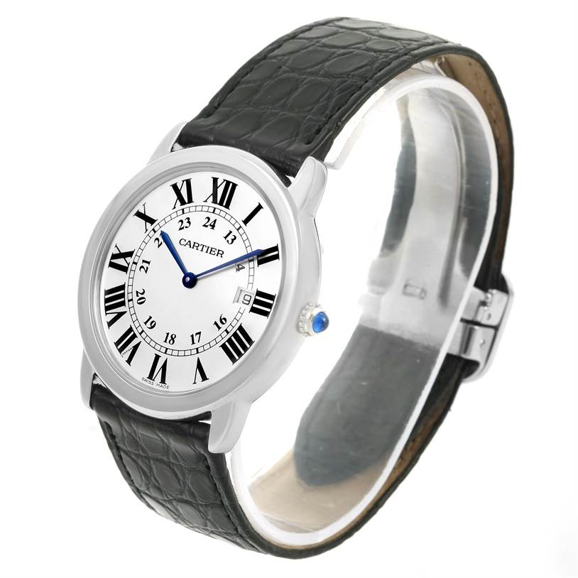 12213 Cartier Ronde Solo Large Steel Black Strap Date Watch W6700255 SwissWatchExpo