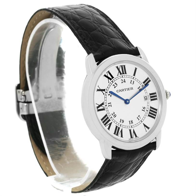 13146 Cartier Ronde Solo Large Steel Black Strap Unisex Watch W6700255 SwissWatchExpo
