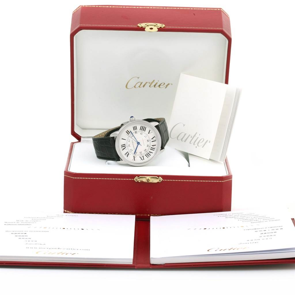 13885 Cartier Ronde Solo Silver Dial Steel Date Watch W6701010 Box Papers SwissWatchExpo