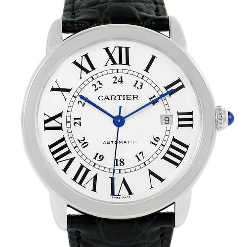 Photo of Cartier Ronde Solo Silver Dial Steel Date Watch W6701010 Box Papers