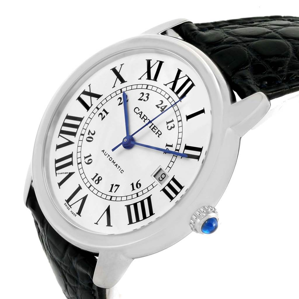 13883 Cartier Ronde Solo XL Silver Dial Steel Watch W6701010 Box Papers SwissWatchExpo