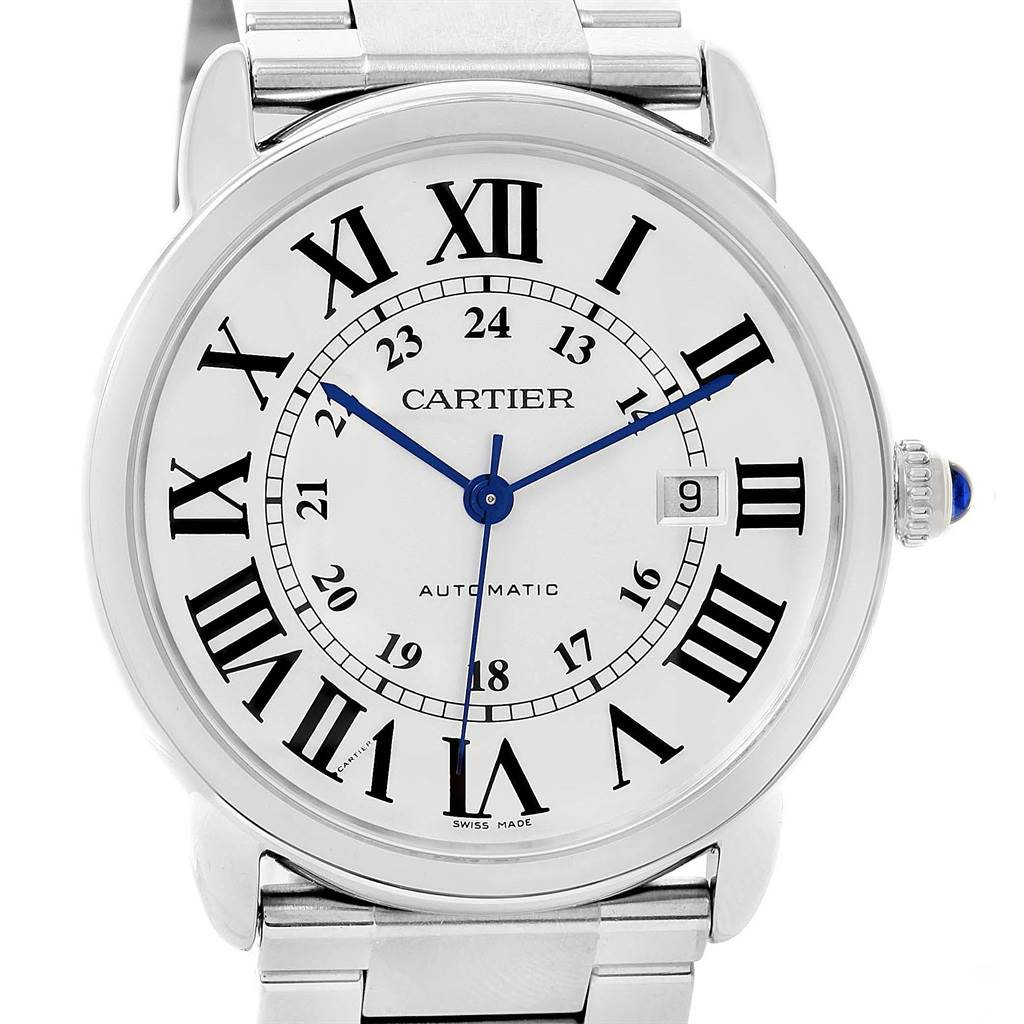 14228 Cartier Ronde Solo Automatic Steel Mens Watch W6701011 Box Papers SwissWatchExpo
