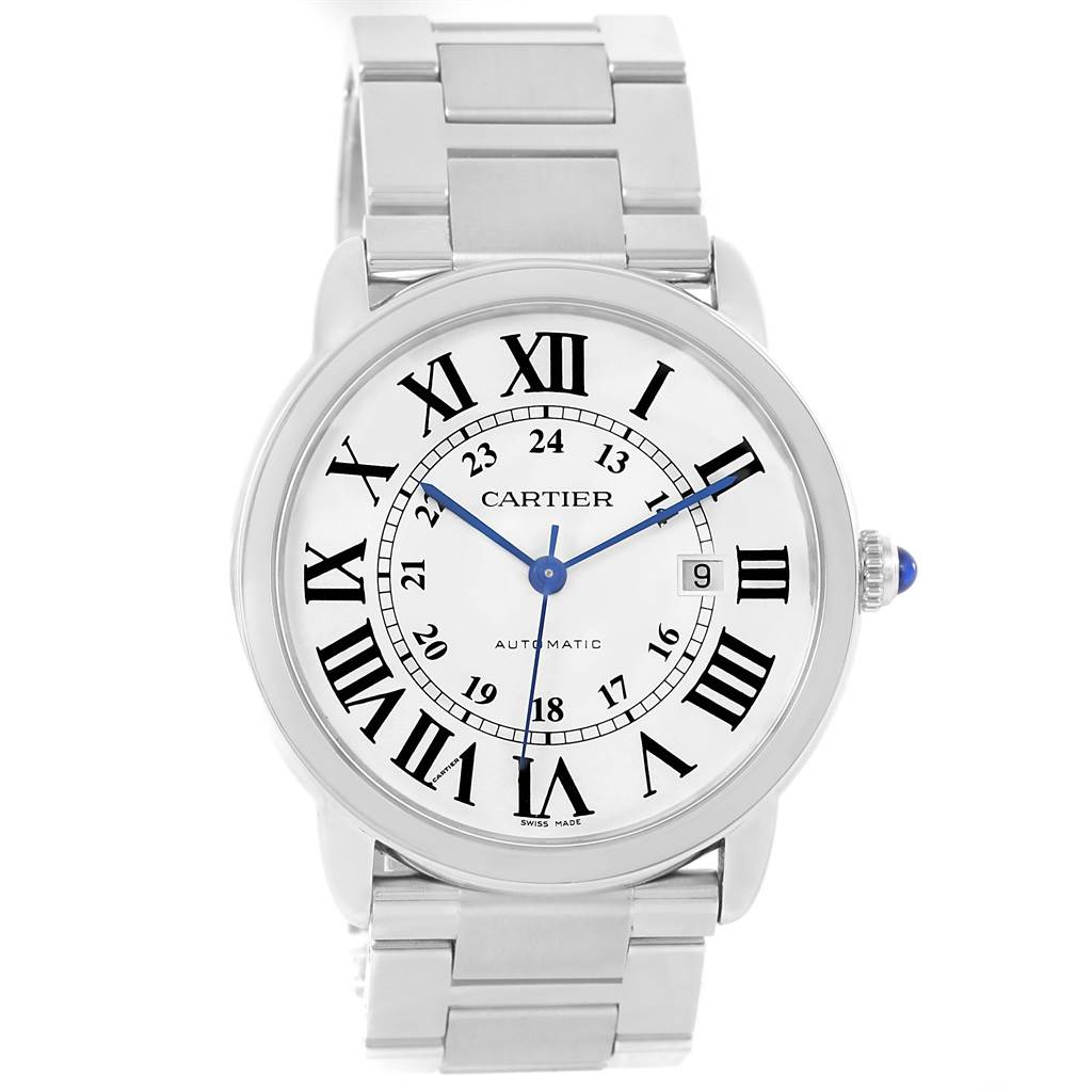 13883A Cartier Ronde Solo XL Silver Dial Steel Watch W6701010 Box Papers SwissWatchExpo