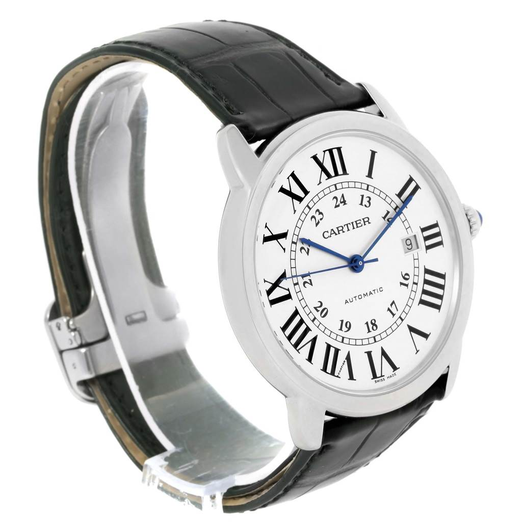 14132 Cartier Ronde Solo XL Silver Dial Stainless Steel Date Watch W6701010 SwissWatchExpo