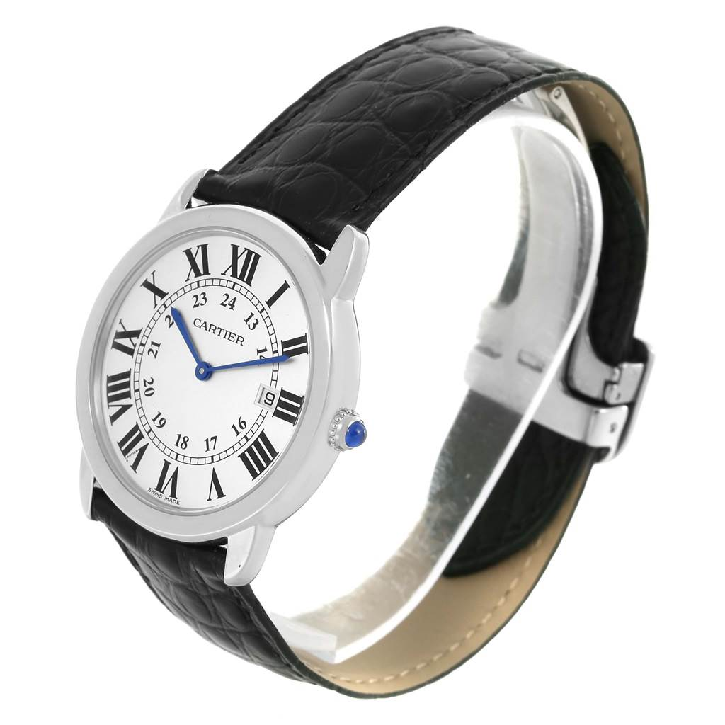15081 Cartier Ronde Solo Large Steel Black Strap Unisex Watch W6700255 SwissWatchExpo