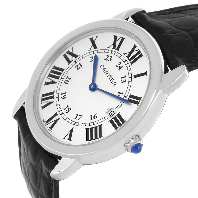 Cartier Ronde Solo Large Steel Black Strap Unisex Watch W6700255 SwissWatchExpo