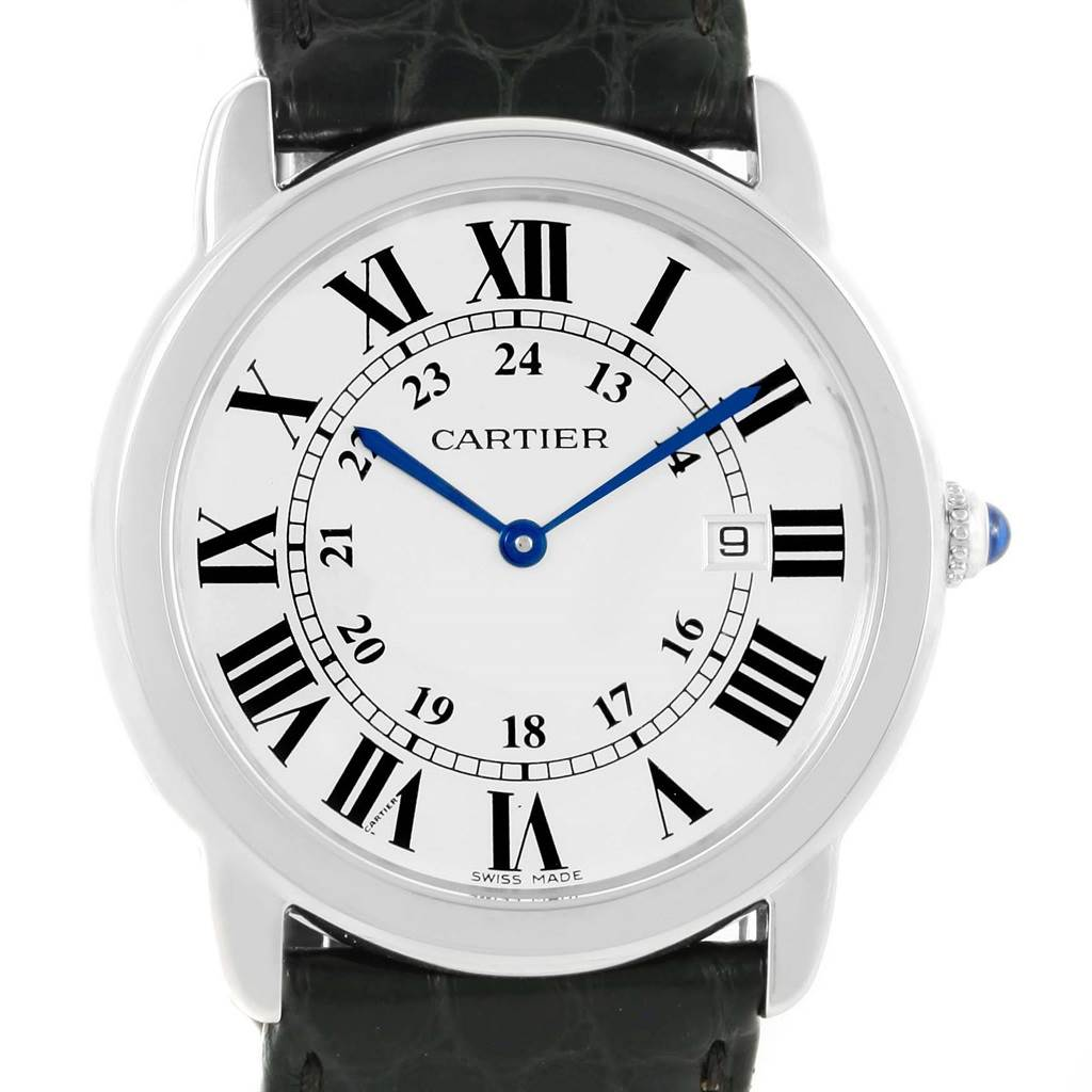 15180 Cartier Ronde Solo Large Steel Silver Dial Unisex Watch W6700255 SwissWatchExpo