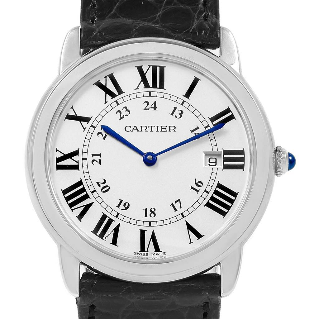 20966 Cartier Ronde Solo Large Steel Silver Dial Unisex Watch W6700255 SwissWatchExpo