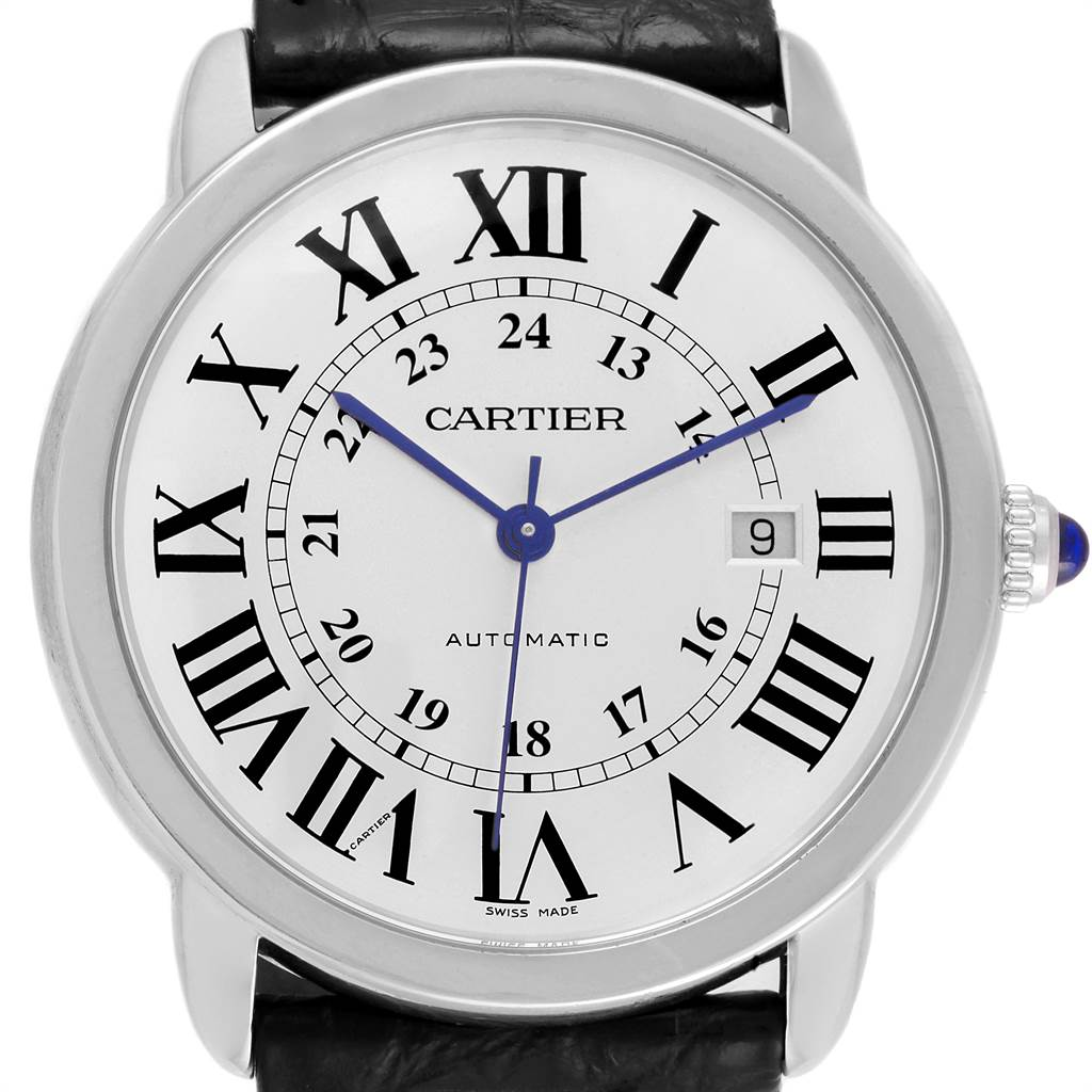 21473 Cartier Ronde Solo XL Silver Dial Black Strap Mens Watch W6701010 SwissWatchExpo