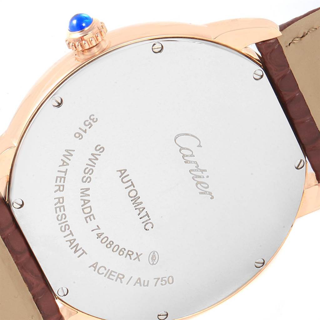 23194 Cartier Ronde Solo XL Silver Dial Rose Gold Steel Mens Watch W6701009 SwissWatchExpo