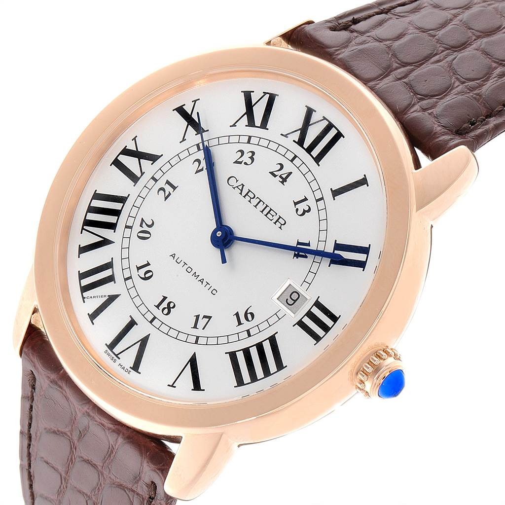 Cartier Ronde Solo XL Silver Dial Rose Gold Steel Mens Watch W6701009 SwissWatchExpo