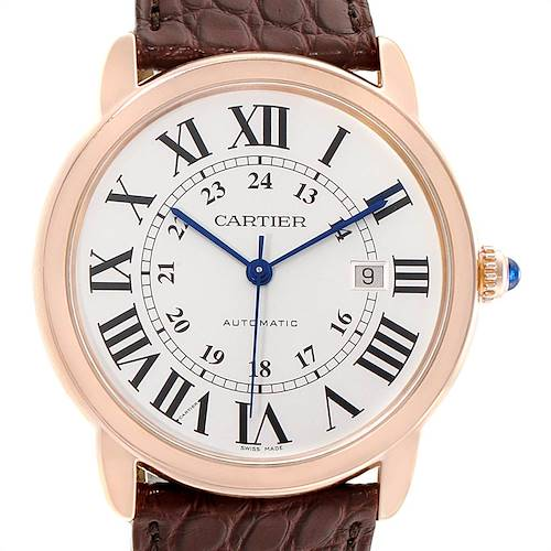 Photo of Cartier Ronde Solo XL Silver Dial Rose Gold Steel Mens Watch W6701009