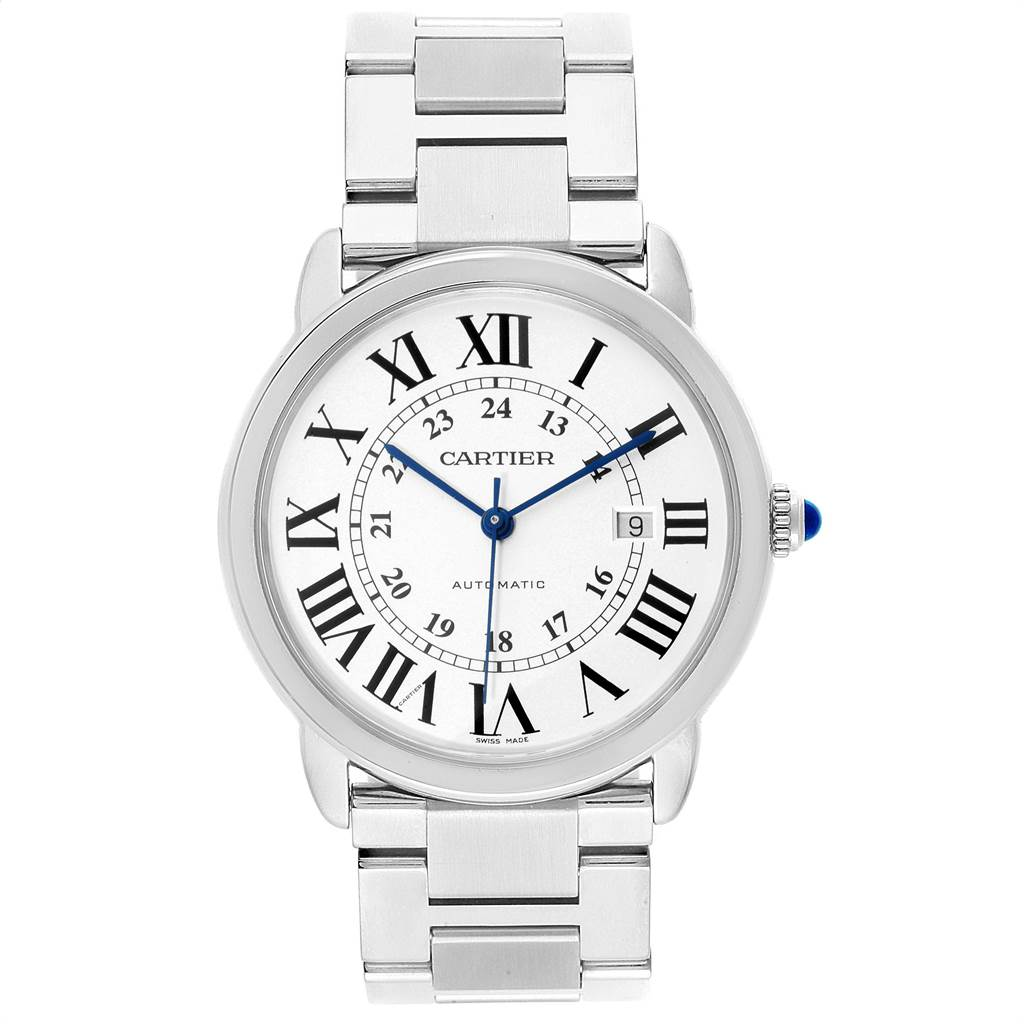 23242 Cartier Ronde Solo XL Automatic Steel Mens Watch W6701011 Box Papers SwissWatchExpo