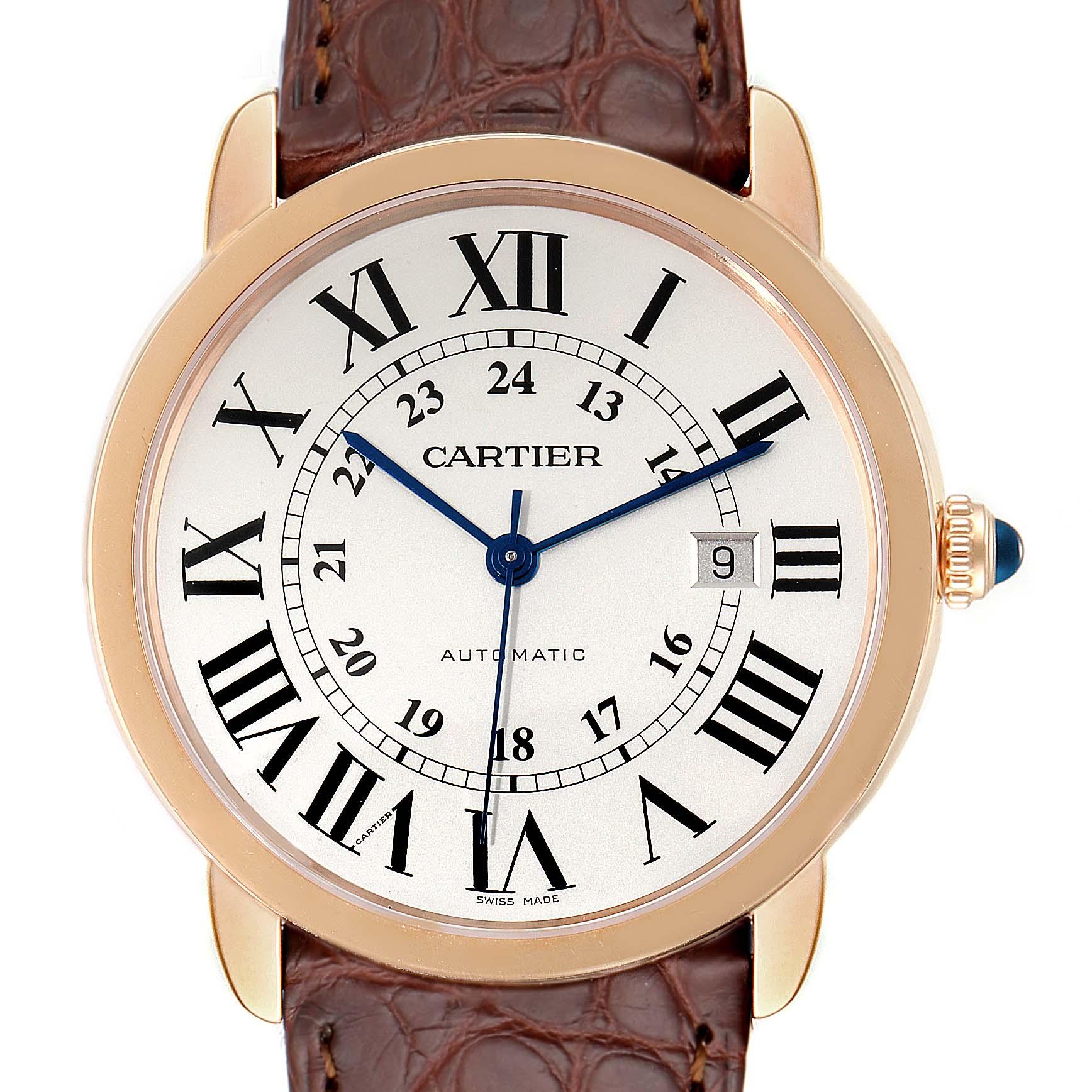 Cartier Ronde Solo XL Rose Gold Steel Mens Watch W6701009 Unworn