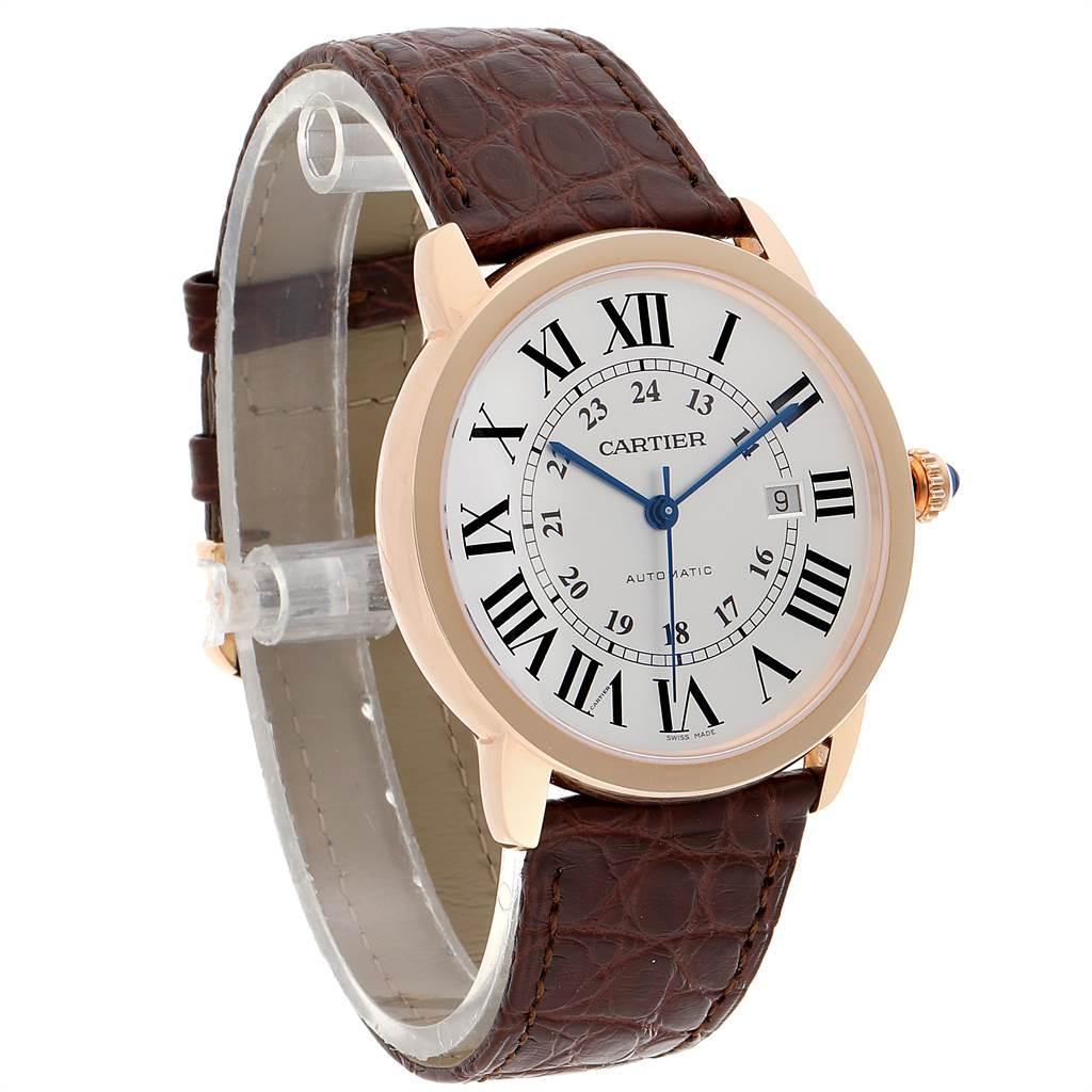 23372 Cartier Ronde Solo XL Rose Gold Steel Mens Watch W6701009 Unworn SwissWatchExpo