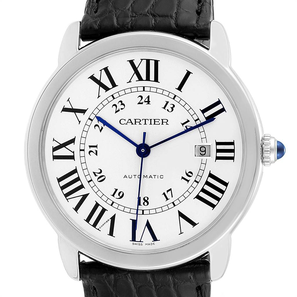 23767 Cartier Ronde Solo XL Silver Dial Black Strap Mens Watch W6701010 SwissWatchExpo