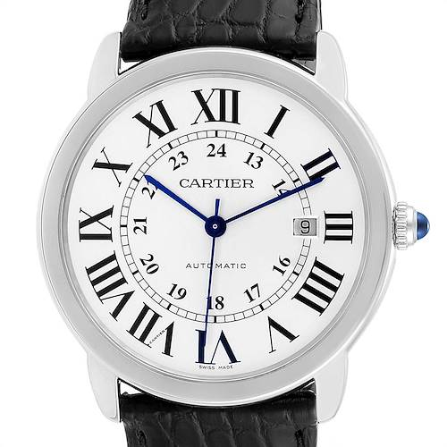 Photo of Cartier Ronde Solo XL Silver Dial Black Strap Mens Watch W6701010