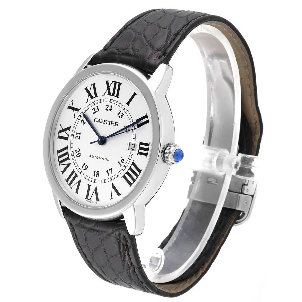 25367 Cartier Ronde Solo XL Silver Dial Black Strap Mens Watch W6701010 SwissWatchExpo