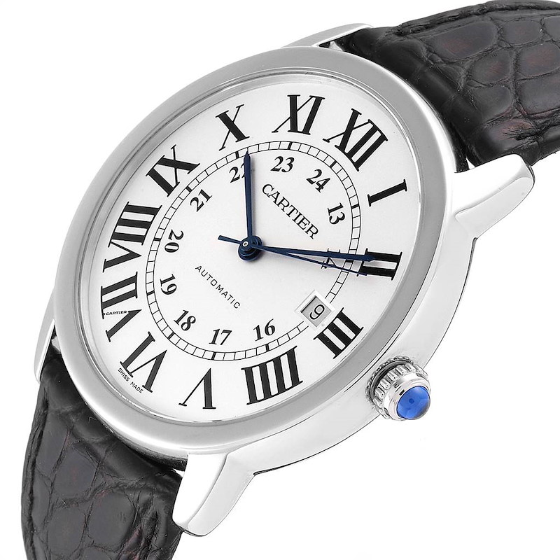 Cartier Ronde Solo XL Silver Dial Black Strap Mens Watch W6701010 SwissWatchExpo