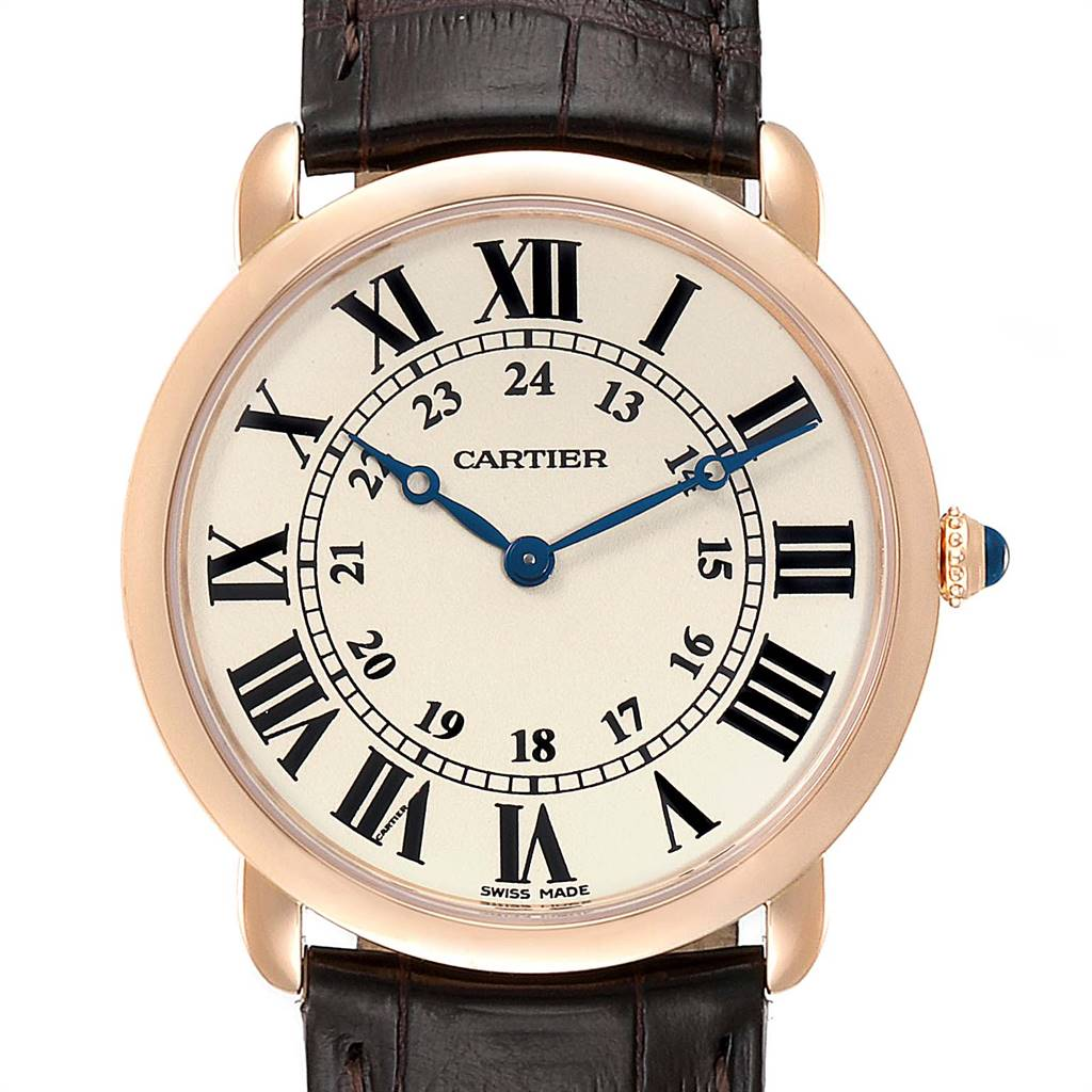 Cartier Ronde Louis Rose Gold Silver Dial Mens Watch W6800251