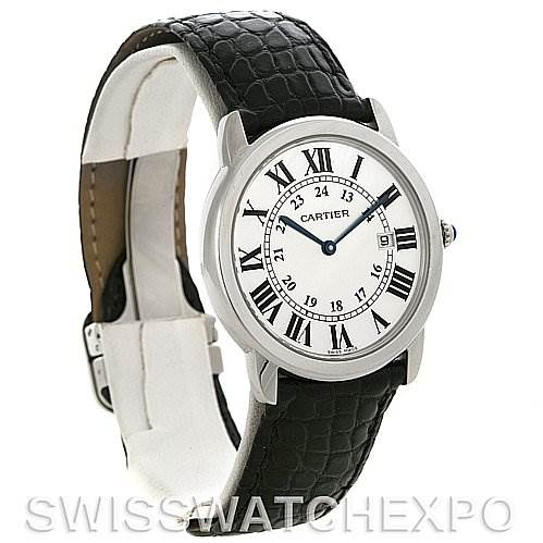 4170 Cartier Ronde Solo Steel Black Leather Mens Watch W6700255 SwissWatchExpo