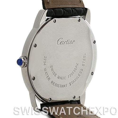 4197 Cartier Ronde Solo Steel Black Leather Mens Watch W6700255 SwissWatchExpo