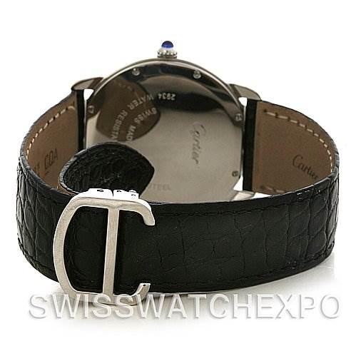 4197 Cartier Ronde Solo Steel Black Leather Mens Watch W6700255 SwissWatchExpo