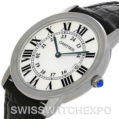 4495 Cartier Ronde Solo Steel Black Leather Mens Watch W6700255 SwissWatchExpo